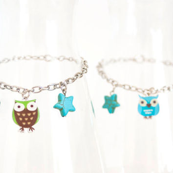 1960s Inspired Owl Friendship Bracelet Set, Matching Best Friend Bracelets, Owl Glass Beads Turquoise Howlite Star Charm Bracelet