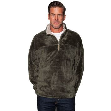 Double Plush 1/2 Zip Pullover in Cargo Grey by True Grit