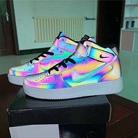 Nike Air Force 1 Casual Chameleon Reflective High-Top Sneakers Shoes