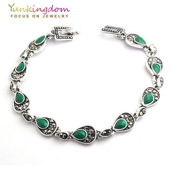 Yunkingdom  Bohemian Ethnic Jewelry Tibetan Silver Green Resin Bracelets  Nepal Women's New Year Fine Jewelry