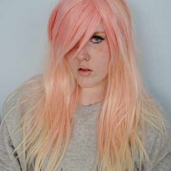 SALE Pink wig, Pastel wig, Ombre wig, dip dye wig, pastel pink wig, Valentine's Day wig, scene wig, cosplay wig // Strawberries and Cream