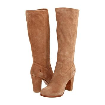 FRYE Mirabelle Slouch Taupe Suede Leather Boots