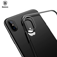 Baseus original transparent Case For iphone X 10 Cases Glitter Series Plating Hard PC Plastic Shell for iPhone X 10 Back Cover
