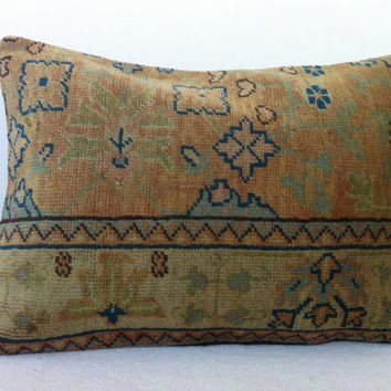 Turkish Handwoven Ushak Rug Pillow, Soft Beige Blue Pale Green Decorative Rug Pillow Cover   25 x 16 Inch - FAST SHIPMENT