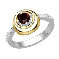 2.48CTW RED ROUND RUBY SOLITAIRE STUD 925 STERLING SILVER YELLOW RHODIUM RING