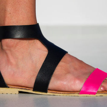Pink Goddess Leather Sandals - Women's Shoes - Any Colors - All Sizes