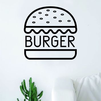 Burger Wall Decal Sticker Vinyl Art Bedroom Living Room Decor Decoration Teen Quote Inspirational Motivational Cute Boy Girl Funny Cute Food Hamburger Cheeseburger Business Cook Logo Dinner Kitchen