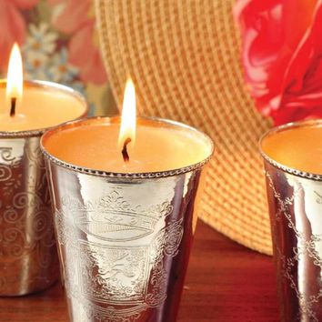 Julep Cup Candles (Set Of 3) - Silver Cup Candle, Mint Julep Cup Candle