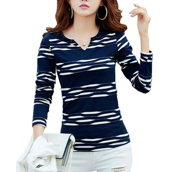 Camisas Femininas 2016 Autumn Long Sleeve Tshirt Women T Shirt Womens Tops Poleras De Mujer Stripe T-shirt Vetement Femme Blusa
