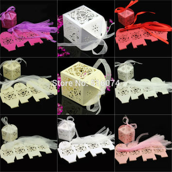 100pcs Folding DIY Wedding Favor Boxes Wedding Candy Box in pearlescent Ideas Creative Wedding Decoration And Gifts(with ribbon)