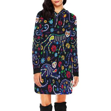 Cats And Sugar Skull Short Mini Hoodie Dress