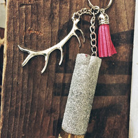 Silver Glitter 12 Gauge Glitter Shotgun Shell Antler Keychain with Pink Leather Charm
