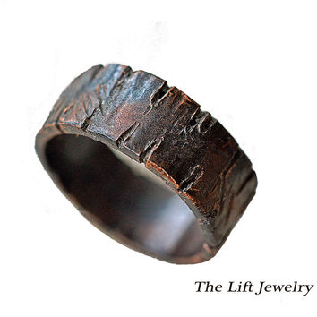 Custom Rugged Copper Ring Unisex- Alternative Wedding Anniversary Ring, Distressed, Deep Grooves, Wood Grain Texture, 1/4""