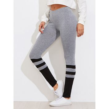 Two Tone Striped Marled Knit Leggings Grey