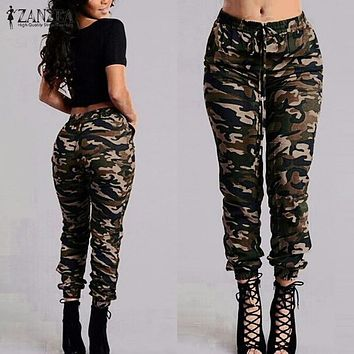 ZANZEA  Camouflage Printed Pants Plus Size S-3XL Autumn Army Cargo Pants Women Trousers Military Elastic Waist Pants