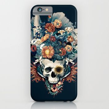 Skull and Flowers iPhone & iPod Case by RIZA PEKER