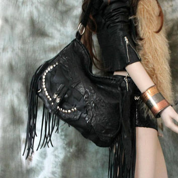 Black fringe studded hobo bag purse rocker purse free people goth gothic rockstyle rock star metalhead studs sweetsmoke rocknroll studs