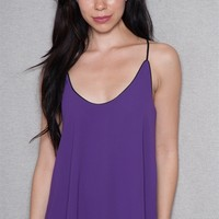 CY USA Chiffon Scoop Neck Racerback Tank Top With Contrast Piping - Purple