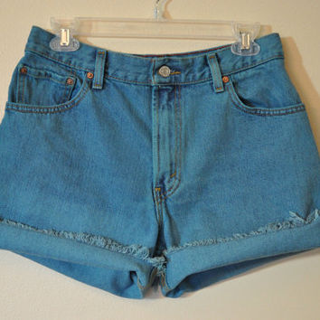 Teal Vintage Levi's 550 SHORTS - Hand Dyed Turquoise Teal Urban Style Denim High Rise Vintage Shorts - Misses Size 10 (30)