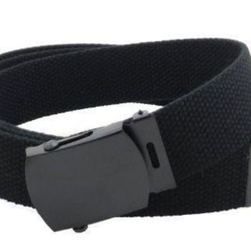 Canvas Web Belt Military Style With Black Buckle And Tip 56 Long Many Colors