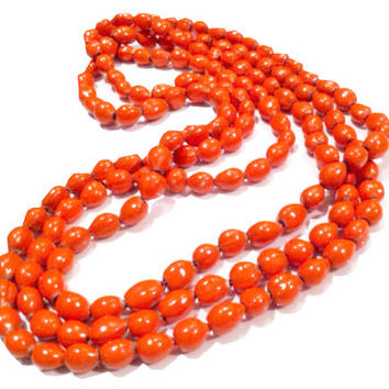 Ethnic Sustainable Natural Acai Seeds Orange Painted Beads Handcrafted Necklace