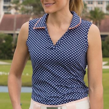 Lori's Golf Shoppe: JoFit Ladies & Plus Size Johnny Collar Sleeveless Golf Polo Shirts - Madras (Bow Print)