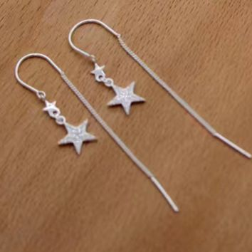 Drop earring dangle star ear chain stud long ear jewelry fashion jewelry E4874-0414