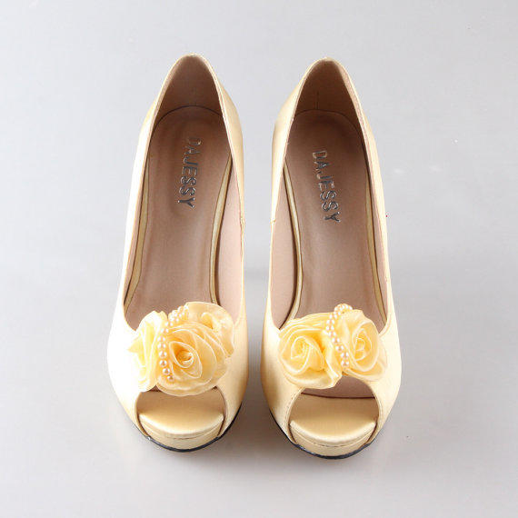 55cb6fee6 Soft yellow canary silk shoes with flower from Creativesugar on