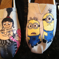 Custom, Hand painted, Despicable Me inspired TOMS. Made to order.
