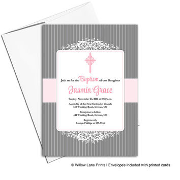 Printable baptism invitations baby girls | pink gray christening invitations | printable or printed - WLP00203