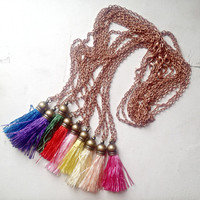 Silk Light Yellow Tassel Necklace with 24 inch Copper Chain, Gift Box Included