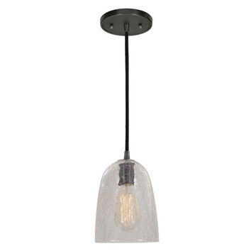 JVI Designs BKIT-1300-18-G4-CK Grand Central Gun Metal One Light Mini Pendant with 6-Inch Crackled Blown Glass Shade