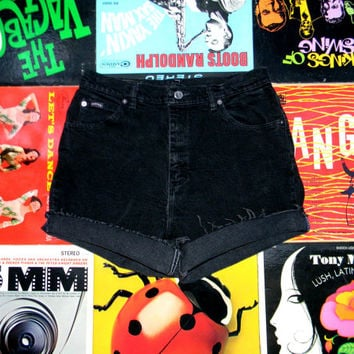 High Waisted Denim Shorts - 90s Black Stretch Jean Shorts - High Waist, Cut Off, Frayed, Rolled Up RIDERS Brand Shorts Size 10 12 M L