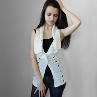 FREE SHIPPING Knitted ivory vest Womens elegat overcot Shawl vest Brooch gift Cotton vest Spring and summer vest Lace stitch