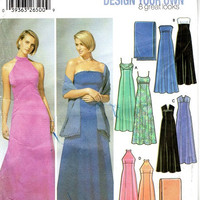 Simplicity Sewing Pattern Design Your Own Gown Formal Dress Halter Top Empire Waist Fit & Flare Bridesmaid Plus Size Full Figure Bust 38