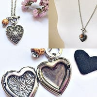 rustic heart perfume locket necklace, scent keepsake pendant