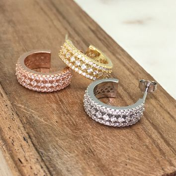 Classic Push Back Diamond Stimulant CZ Sterling Silver Huggie Hoop Earrings