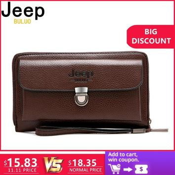 JEEP BULUO Men Wallets 2018 New Casual Wallet Men Purse Clutch Bag Microfiber Leather Wallet Long Design Handbag For Man 1688