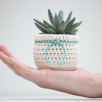Succulent Planter turquoise and white Flowerpot Cozy Decorative Pot Home Decor crochet ornament