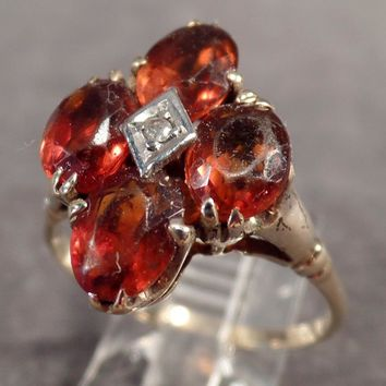 Ladies, Vintage Citrine Cluster Ring with Small Diamond