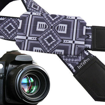Grey Native American Inspired camera strap with pocket. Modest strap for DSLR and SLR cameras. Unisex strap for amateurs and professionals.