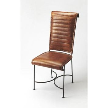 Butler Specialty Company Buxton Iron And Leather Side Chair 6164344 | Bellacor