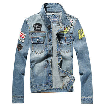 Men's Denim Jacket high quality fashion Jeans Jackets Slim fit casual streetwear Vintage Mens jean clothing Plus Size M-5XL
