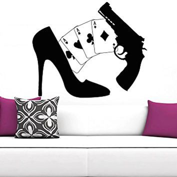 Game Wall Decal Game Zone Wall Decals Cards Pistol Vinyl Stickers Boy Nursery Kids Playroom Home Decor Bedroom C251