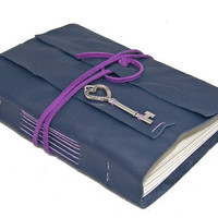 Purple Leather Journal with Key Charm Bookmark