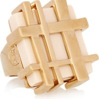 Tory Burch Gingham gold-plated resin ring – 45% at THE OUTNET.COM