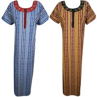 Mogul Lot Of 2 Womens Maxi Caftan Cotton Sleepwear Evening Dress Round Neckline Nightgown M - Walmart.com