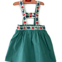 Vintage Child's Skirt Teal Blue with Blue and Red Hearts Trim Handmade