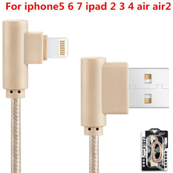Nylon braided wire 1M 2M 3M Right Angle 8 Pin USB Cable 90 Degree Fast Charging Data Sync Cords 4 color For iPhone 5 6 7 ipad