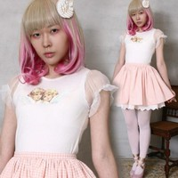 Victorian Angel Twins Dolly Lolita Sheer Princess Puff Flutter Sleeve T-shirt